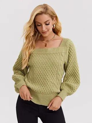 WOMEN Square Neck Cable Knit Sweater