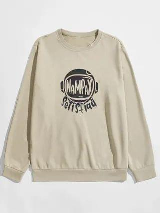 MEN Letter Graphic Round Neck Sweatshirt