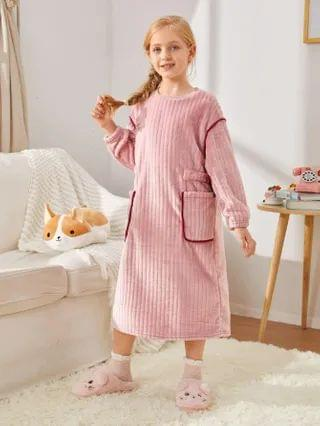 KIDS Slogan Embroidered Pocket Patched Contrast Binding Detail Nightdress