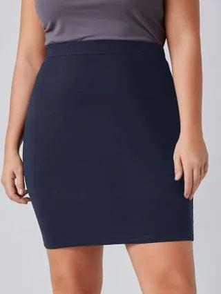WOMEN Plus Solid Bodycon Skirt