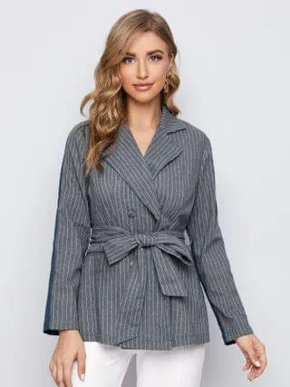 WOMEN Striped Double Breasted Belted Blazer