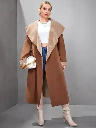WOMEN Plus Waterfall Collar Double-Faced Reversible Suede Coat