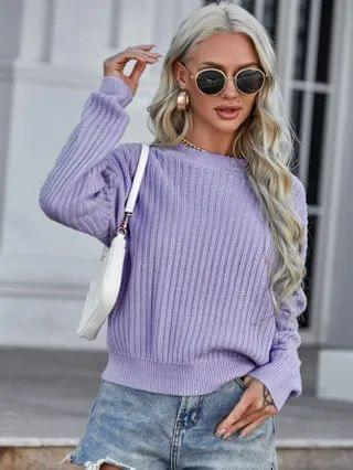 WOMEN Ribbed Knit Drop Shoulder Sweater