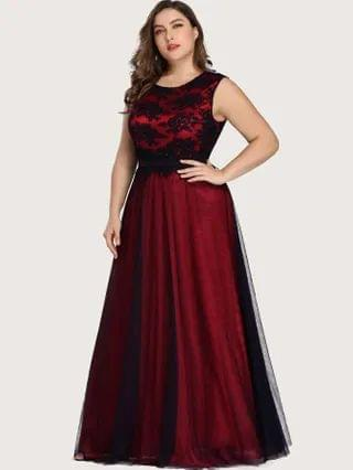 WOMEN EVER-PRETTY Plus Floral Embroidered Mesh Prom Dress