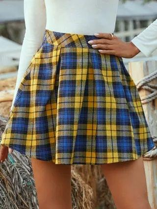 WOMEN High Waist Tartan Pleated Skirt
