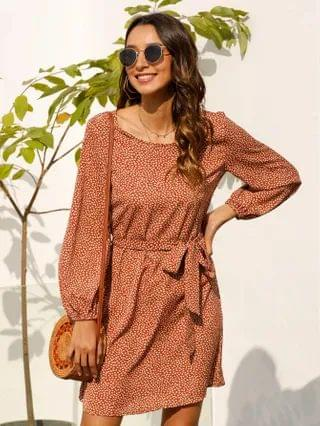 WOMEN Lantern Sleeve Belted Allover Print Dress