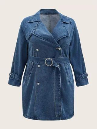 WOMEN Plus Double Button Belted Denim Dress