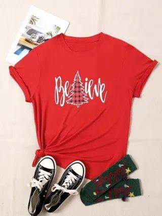 WOMEN Plus Christmas & Letter Graphic Tee