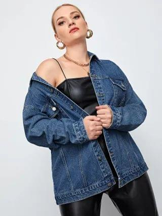 WOMEN Plus Button Up Drop Shoulder Denim Jacket