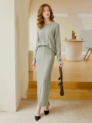 WOMEN Drop Shoulder Ribbed Sweater With Knit Skirt