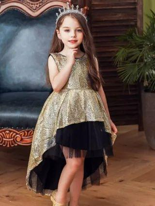 KIDS Sequin Contrast Mesh Bow Back Party Dress