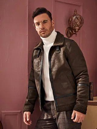 MEN Zipper Up Buckle PU Leather Coat With Teddy Lined
