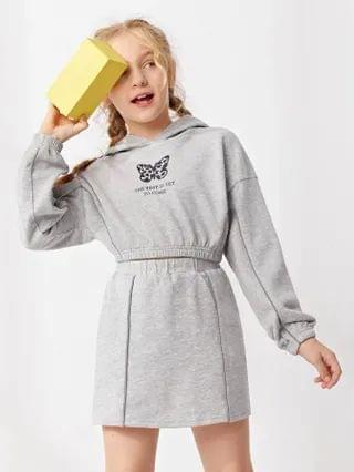 KIDS Butterfly & Slogan Graphic Reflective Piping Detail Hoodie And Skirt Set