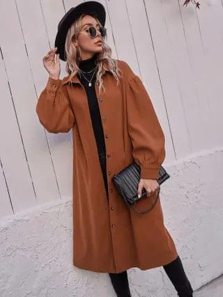 WOMEN Suede Button Front Belted Overshirt