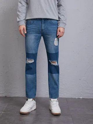 MEN Ripped Cat Whisker Washed Jeans