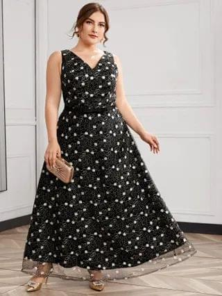 WOMEN Plus Floral Embroidery Mesh Overlay Formal Dress