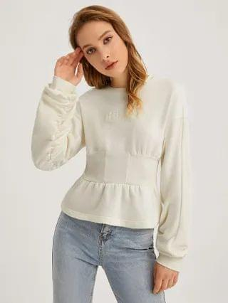 WOMEN Letter Embroidery Peplum Pullover