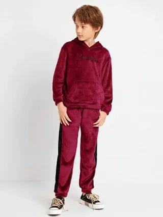 KIDS Letter Embroidered Teddy Hoodie & Contrast Sideseam Pants Set