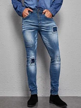 MEN Ripped Patched Washed Jeans