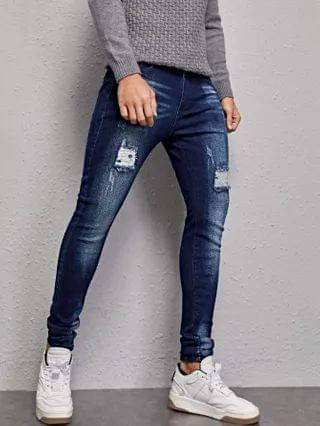 MEN Stone Wash Ripped Skinny Jeans