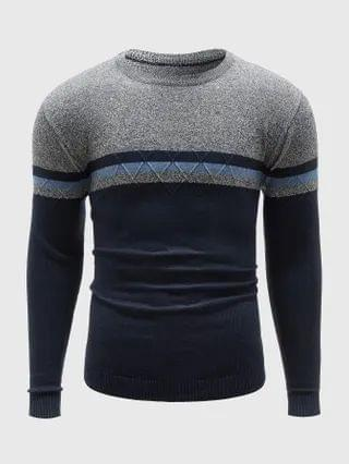 MEN Striped Colorblock Sweater