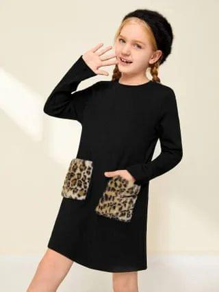 KIDS Contrast Leopard Faux Fur Pocket Dress