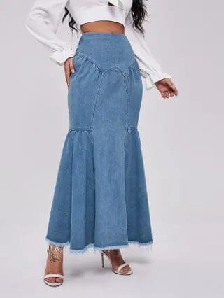 WOMEN Raw Hem Mermaid Denim Skirt