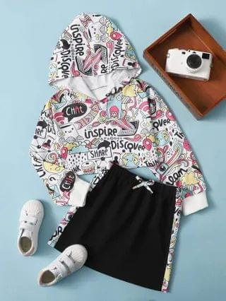 KIDS Cartoon And Letter Graphic Crop Hoodie & Skirt