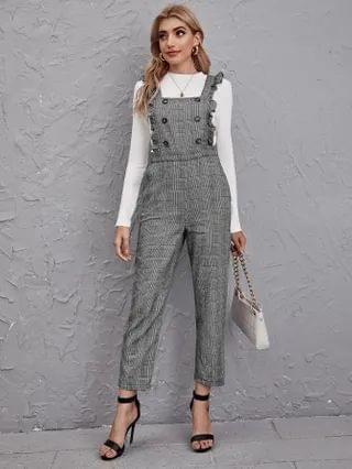 WOMEN Ruffle Strap Double Breasted Plaid Pinafore Jumpsuit