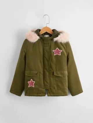 KIDS Star Patched Detail Contrast Faux Fur Hooded Jacket