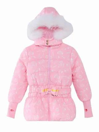 KIDS Cartoon Graphic Thumb Holes Belted Puffer Coat
