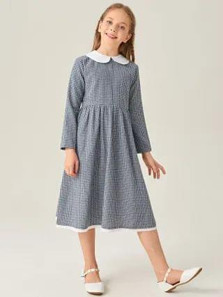 KIDS Contrast Peter-pan Collar Plaid Dress