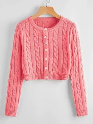 WOMEN Cable Knit Cardigan and Sweater Skirt Set