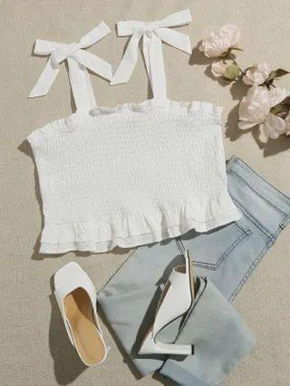 WOMEN Plus Knotted Shoulder Shirred Crop Cami Top