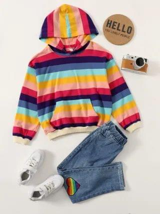 KIDS Rainbow Striped Hoodie With Heart Embroidered Jeans