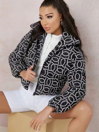 WOMEN Collared Zip Up Allover Print Puffer Coat