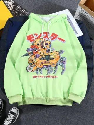 MEN Japanese Letter And Graphic Print Sweatshirt