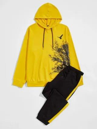 MEN Tree and Bird Print Hoodie and Joggers Set