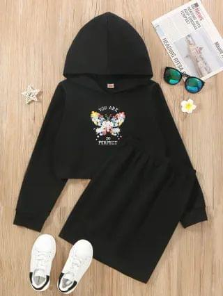 KIDS Floral Butterfly Print Hoodie With Skirt
