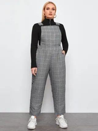 WOMEN Plus Houndstooth Pinafore Jumpsuit