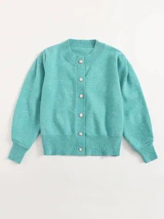 WOMEN Solid Pearls Button Front Cardigan