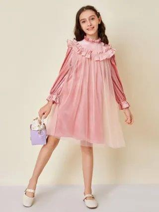 KIDS Ruffle Trim Velvet Shoulder Mesh Overlay Dress