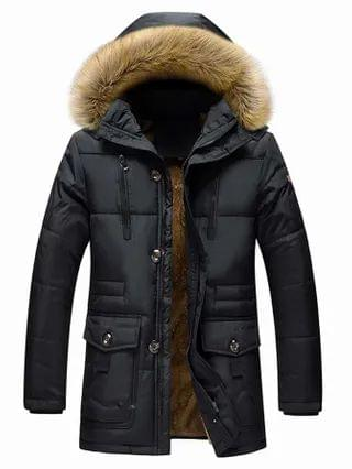 MEN Puffer Coat With Faux Fur Hooded
