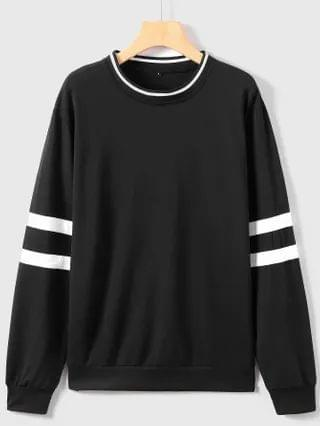 MEN Varsity Striped Long Sleeve Sweatshirt