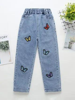 KIDS Butterfly Patched Straight Leg Jeans
