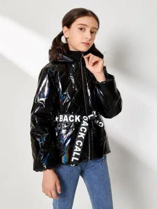 KIDS Letter Belted Leather Look Puffer Jacket
