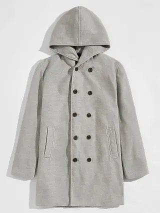 MEN Double Breasted Hooded Pea Coat