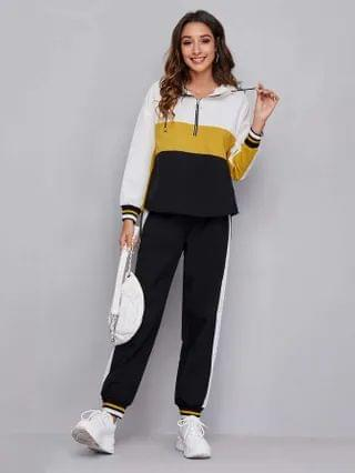WOMEN Zip Half Placket Colorblock Hoodie & Pants Set
