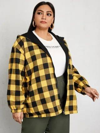 WOMEN Plus Double Face Gingham Print Zip Up Hooded Jacket