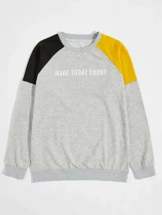 MEN Color-block Slogan Graphic Sweatshirt